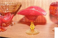 Red Glass Fenton Covered Dish & More - 5 Pc