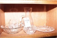 Crystal vase, Glass Pitcher & Dishes - 5 Pc