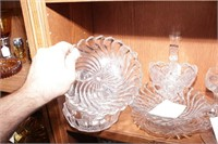 Imperial basket, Etched & Pressed Glass - 13 Pc