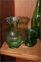 Vintage bud vase, pitcher, Green Glass - 8 Pc