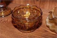 Kanawha Compote, Amber & Green Glass - 11 Pc