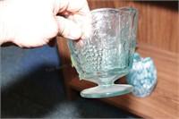 Blue Glass basket, hand blown art glass - 7 Pc