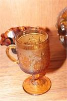 Amber Glass, heavy thumb print art glass - 8 Pc