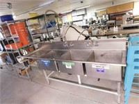 """Soiled Side 3 Compartment Sink, 99""""X27"""""""