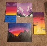 (4)Acrylic Paintings on Canvas