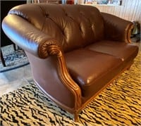 2 Cushion Wood Framed Leather Love Seat