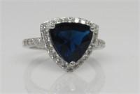 Sapphire & White Topaz Ring