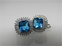 5.5 ct Blue Topaz Earrings