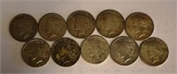 Lot of 10 Assorted Dates Silver Peace Dollars
