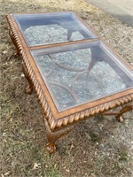 SOLID MAHOGANY CARVED CHIPPENDALE COFFEE TABLE