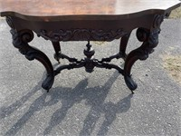 WALNUT VICTORIAN HEAVY CARVED TURTLE TOP TABLE