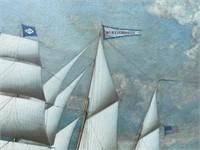 MODERN SHIP ON ON CANVAS, GOLD FRAME
