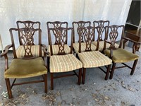 SET OF 8 SOLID MAHOGANY CHIPPENDALE CHAIRS