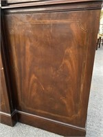 BAKER MAHOGANY FLAMED FRONT CHINA CLOSET
