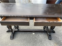 MAHOGANY TRIPLE COLUMN BASE DAVENPORT TABLE'