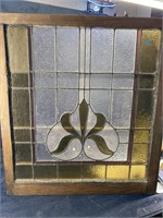 ANTIQUE LEADED GLASS LARGE WINDOW