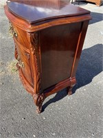 FLAMED MAHOGANY CARVED NIGHT STAND FROM SWAN SET
