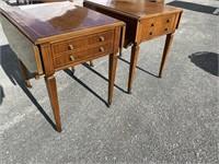 PR OF MAHOGANY INLAID DROPLEAF TABLE BY HEIRLOOM