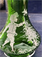 FOREST GREEN MARY GREGORY VASE HAND