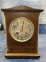 ANTIQUE WM. GILBERT INLAY MANTLE CLOCK RUNNING