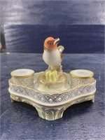 HEREND HUNGARY BIRD AND BABIES INKWELL HAND