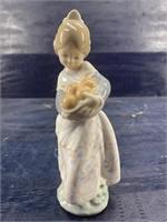 LLADRO GIRL HOLDING FRUIT FIGURINE