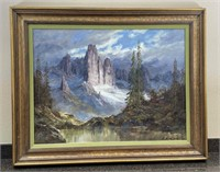 Lg. Original Oil Painting: Mountains By H F Dienst