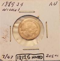 1889 NICKEL 3 CENT PIECE