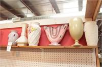 Ceramic & art glass  Vases on Upper Shelf  - 6 Pc