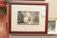 Antique advertising piece & prints - 6 Pc -