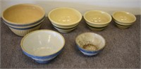 Old Kitchen Bowls, Watt, Blue Salt Glaze