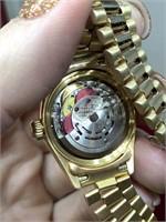 18k GOLD ROLEX DATEJUST WATCH W DIAMONDS AUTHENTIC