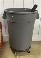 Plastic Trashcan On Wheels W/ Contents