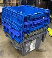 5 Plastic Totes 21x16x12