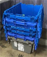 6 Plastic Totes 21x16x12