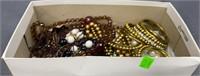 Shoebox W/ Assorted Costume Jewelry