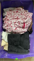 2 Totes & 1 Box Of Assorted Clothing