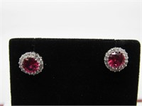 3.0 ct Ruby & Topaz Earrings