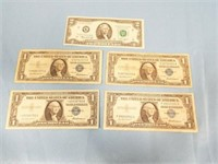 $1 Silver Certificate Series 1957, Qty 4; $2 Note