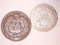 1908 Indian Cent & 1908-D Barber Dime