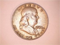 1958-D Mint Franklin Half Dollar Coin