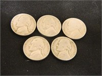 1946 & 1947 Jefferson Nickels; '46-(5); '47-(6)