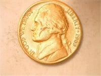 1965 Jefferson Nickel; Gold Plated