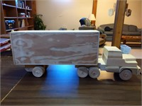 Wood Semi Truck and Trailer (missing 2 wheels)