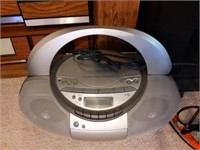 Toshiba TV (older and heavy), TV Stand, Radios,