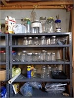 (2) Metal Shelves and Contents : Jars, Games,