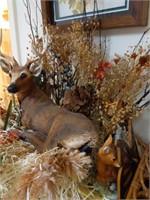 Brass Deer, Deere Display, and Framed Bear and