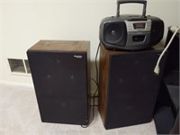 Toshiba TV (older and heavy), TV Stand, Speakers,