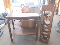 "Wood End Table 25.5"" x 13"" x 22""  and Rack 7.5"" x"
