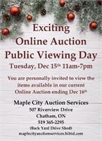December 13 to December 16 Online Auction